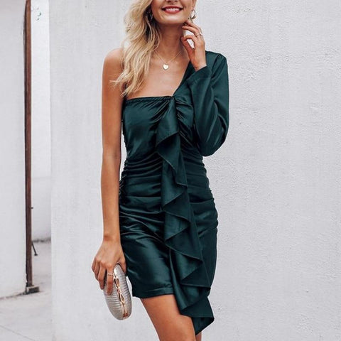 Asymmetric Elegant Ruffles Satin One Shoulder Sexy Dress-women-wanahavit-Dark Green-S-wanahavit