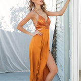 Sequin Cross Strap Backless Elegant Satin Party Dress-women-wanahavit-Orange-S-wanahavit