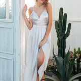 Sequin Cross Strap Backless Elegant Satin Party Dress-women-wanahavit-Silver gray-S-wanahavit