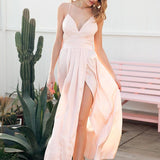 Sequin Cross Strap Backless Elegant Satin Party Dress-women-wanahavit-Pink-S-wanahavit