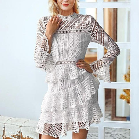 Elegant White Vintage Flare Sleeve Lace Dress-women-White-S-wanahavit