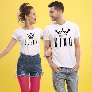 King Queen Letter Print Matching Couple Tees-unisex-wanahavit-FB78-FSTWH-S-wanahavit