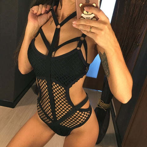 Sheer Knit Net Mesh Sexy Halter Monokini-women fitness-wanahavit-Black-L-wanahavit