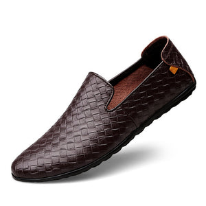 Breathable Comfortable Luxury Weave Casual Shoe-men-wanahavit-Brown Flats-5.5-wanahavit