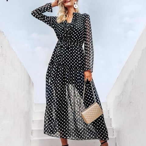 Elegant Polka Dot Long Sleeve Mesh Dress-women-wanahavit-Polka dot-S-wanahavit