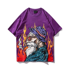 Smoking Old Man Printed Streetwear Hip Hop Loose Tees-unisex-wanahavit-Purple-Asian M-wanahavit