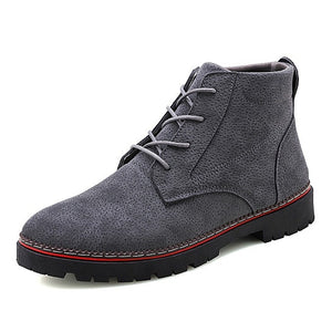 Winter Pu Leather Lace Up British Style Warm Boots-men-wanahavit-Grey Boots-6.5-wanahavit