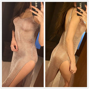 Sexy Sheer Mesh Knitted Tunic Long Beach Cover Up Dress-women fitness-wanahavit-Golden Pink-One Size-wanahavit