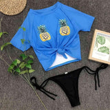Pineapple Printed Knotted Shirt Bikini