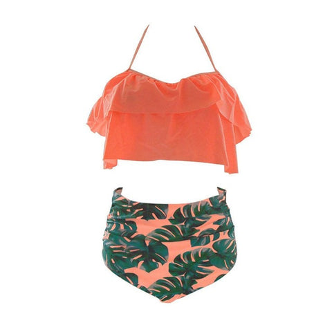 Plus Size Printed Ruffled High Waist Bikini-women fitness-wanahavit-OrangeLeaves-S-wanahavit