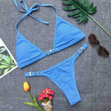 Sexy Solid Color Buckle Lock Halter Brazilian Bikini-women fitness-wanahavit-Blue-L-wanahavit