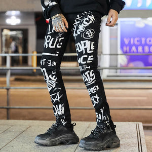 Biker Graffiti Denim Skinny Jeans Pants-men-wanahavit-black-M-wanahavit