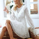 Flare Sleeve Hollow Out Ruffles Mesh Vintage Dress-women-White-S-wanahavit