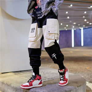 Patchwork Elastic Waist Cargo Sweatpant-men fashion & fitness-wanahavit-black-M-wanahavit