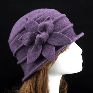 100% Pure Wool Hexagonal Flower Casual Warm Knitted Winter Beanie-women-wanahavit-Purple-wanahavit