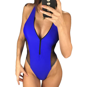 Sexy Zipper Mesh High Cut Deep V Neck Monokini-women fitness-wanahavit-Blue-L-wanahavit