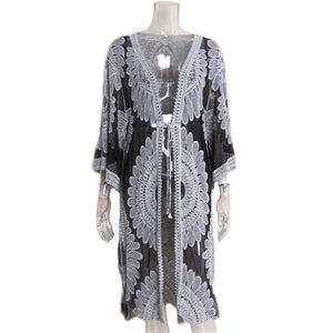Embroidery Crochet Knitted Tunic Beach Long Cover Up-women fitness-wanahavit-Black-One Size-wanahavit