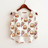 Cute Food Printed Harajuku Crop Top Shirt-women-wanahavit-pizza burger-One Size-wanahavit