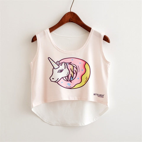 Cute Food Printed Harajuku Crop Top Shirt-women-wanahavit-donut unicorn-One Size-wanahavit