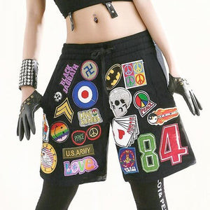 Retro Appliques Hip Hop Dance Loose Harem Shorts-women-wanahavit-M-wanahavit