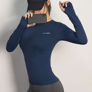 Sport Top Fitness Yoga Top Long Sleeve Shirt-women fitness-wanahavit-blue-L-wanahavit