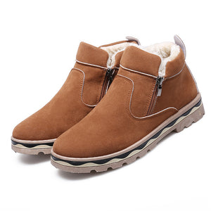 Winter Side Zip Classic Snow Ankle Boots with Fur-men-wanahavit-Brown Snow Boots-6.5-wanahavit