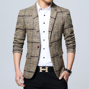 Plaid Stylish Formal Business Blazer-men-wanahavit-Khaki-M-wanahavit