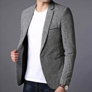 Single Button Slim Fit Party Suit Blazers-men-wanahavit-Gray-M-wanahavit