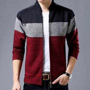 Casual Mandarin Collar Coat Gradient Knitting Zippered Jacket-men-wanahavit-Red-M-wanahavit