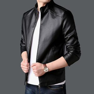 Faux Leather Motorcycle Korean Jacket-men-wanahavit-Black-XL-wanahavit