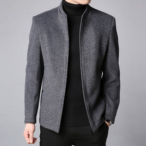 Slim Fit Wool Pea Coat Warm Wool Blend Jackets-men-wanahavit-Gray-L-wanahavit