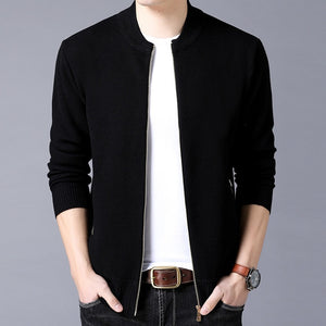 Casual Mandarin Collar Solid Color Zipper Jacket-men-wanahavit-Black-M-wanahavit