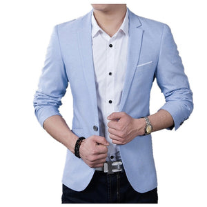 Formal Slim Fit Meeting Dress Blazer-men-wanahavit-Light blue-M-wanahavit