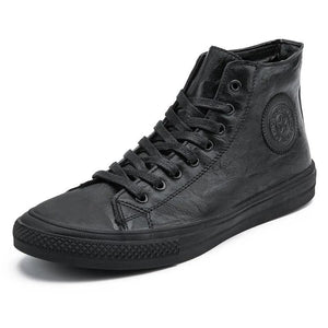 Leather High Tops Casual Sneakers Waterproof Lace Up Shoes-men-wanahavit-Black-7-wanahavit
