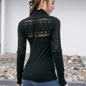 Seamless Hollow Work Out Long Sleeve-women fitness-wanahavit-Black-M-wanahavit