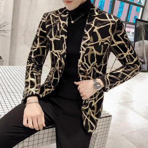 Branches Printed Korean Slim Fit Blazer-men-wanahavit-As picture-M-wanahavit