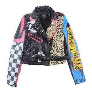 Punk Rock Partisans Leopard Studded Leather Jacket-women-wanahavit-Colorful-L-wanahavit