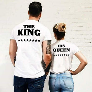 The King with His Queen Matching Couple Tees-unisex-wanahavit-FJ43-FSTWH-S-wanahavit