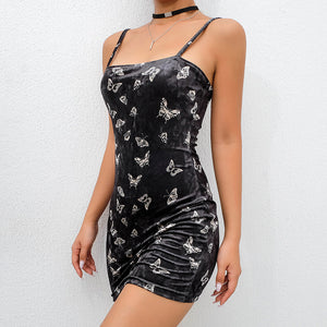 Butterfly & Moth Printed Backless Off Shoulder Dress-women-wanahavit-black-L-wanahavit