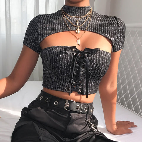 Sexy Hollow Out Slim Fit Lace Up Bandage Crop Top Tees-women-wanahavit-black-L-wanahavit