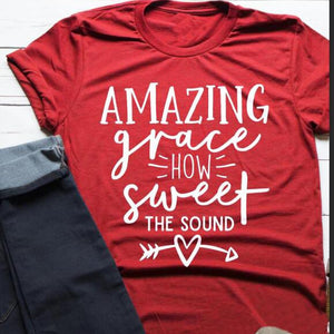 Amazing Grace How Sweet The Sound Christian Statement Shirt v2-unisex-wanahavit-red tee white text-S-wanahavit