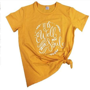 It Is Well With My Soul Christian Statement Shirt-unisex-wanahavit-gold tee white text-S-wanahavit