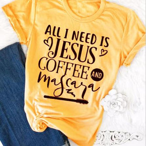All I Need Is Jesus And Coffee And Mascara Christian Statement Shirt-unisex-wanahavit-gold tee black text-L-wanahavit