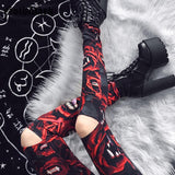 Monster Teeth Print Hollow Out Skinny Pants-women-wanahavit-red-S-wanahavit