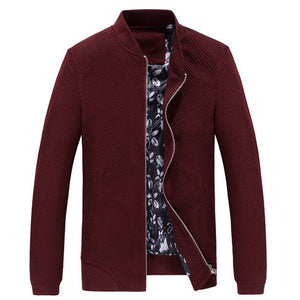 Autumn Classic Mandarin Collar Zipper Jacket-men-wanahavit-WineRed-M-wanahavit