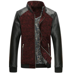 Biker Patchwork Leather Jacket-unisex-wanahavit-Red-M-wanahavit