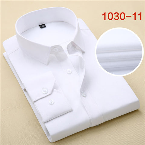High Quality Solid Long Sleeve Shirt #103XX-men-white-S-wanahavit