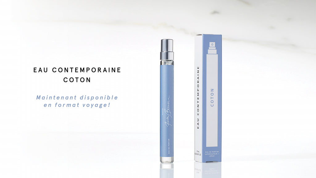 Proud of the overwhelming success of Eau Contemporaine Coton, the perfume designed exclusively for Simons, we are happy to launch a 10ml travel size bottle.
