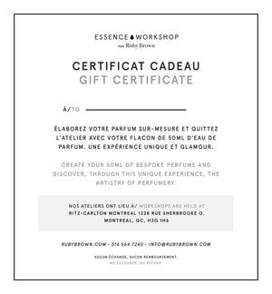 Certificat cadeau atelier de parfum Essence Workshop par Ruby Brown