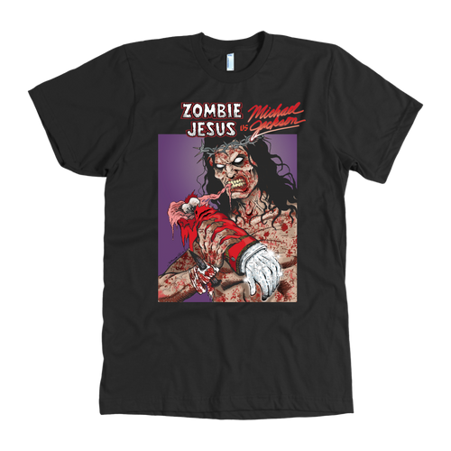 Zombie Jesus VS Michael Jackson • Original Design By Robin Thompson • FREE Digital Horror Anthology Included With Purchase!!! - House Of 1000 T Shirts